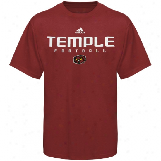 Temple Owls Apparel: Adidas Temple Owls Burgandy Collegiate Football T-shirt