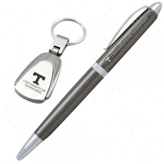 Tennessee Volunteers Black Chrome Pen And Keychain Set