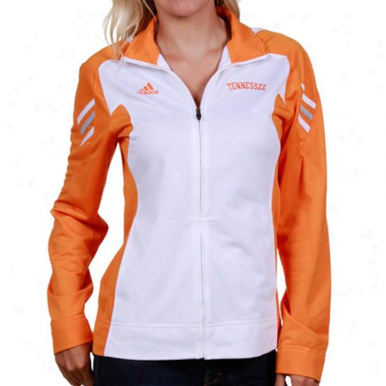 Tennessee Volunteers Jacket : Adidas Tennessee Volunteers Ladies White-tennessee Orange Scorch Full Zip Performance Warm-up Jackket