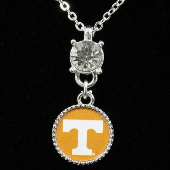 Tennessee Voluntewrs Ladies Crystal Stud Necklace
