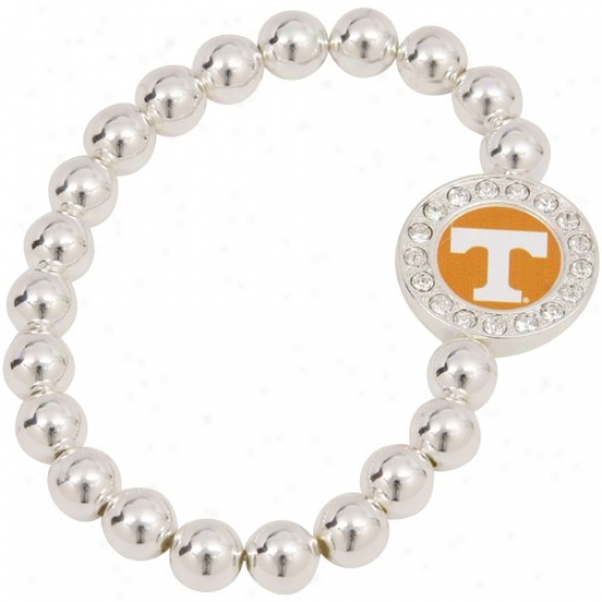 Tennessee Volunteers Round Crystal Beaded Stretch Bracelet
