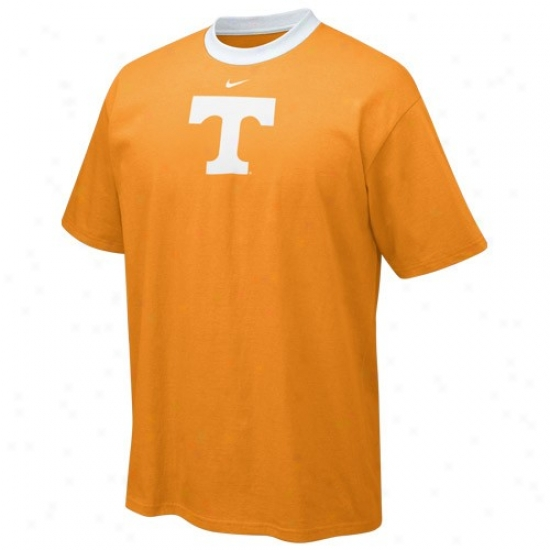 Tennessee Volunteers Shirt : Nike Tennessee Volunteers Orange Contrast Neck Logo Shirt