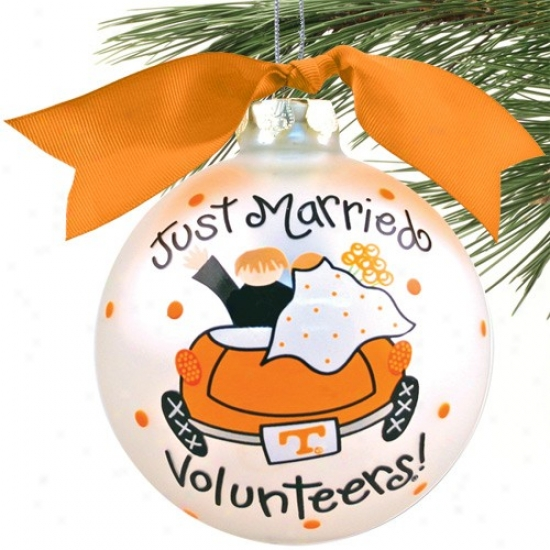 Tennessee Volunteers Silver Just Married Christmas Ornament