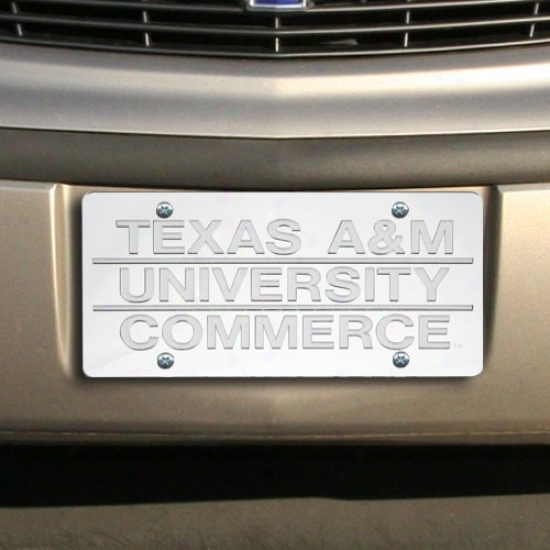 Texas A & M Commerce Lions Silver Mirrored License Plate