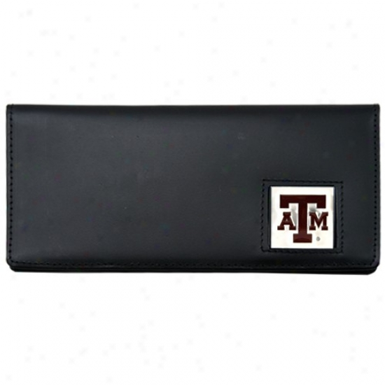 Texas A&m Aggies Executive Black Leather Checkbpok Cover
