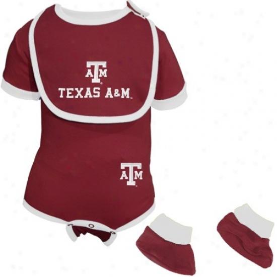 Texas A&m Aggies Infant Maroon 3-piece Football Creeper, Bib & Booties Set