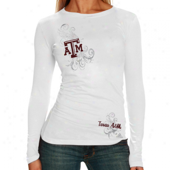 Texas A&m Aggies T-shirt : Adidas Texas A&m Aggies Lasies White Whirl Swirl Annual rate  Long Sleeve T-shirt