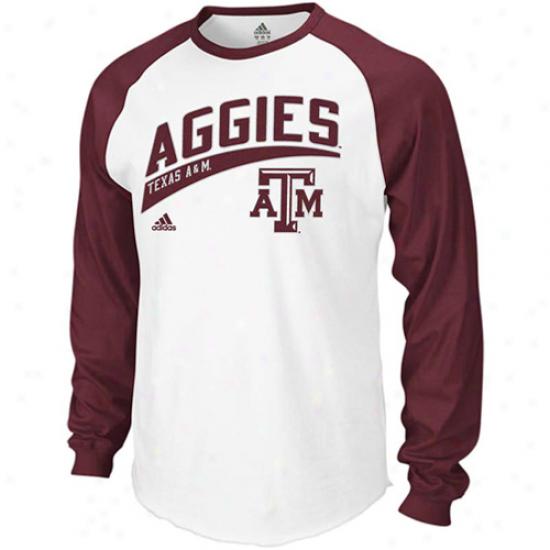 Tecas A&m Aggies Tshirtts : Adidas Texas A&m Aggies White-maroon Underscore Raglan Long Sleevs Tshirts