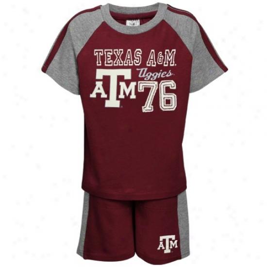 Texas A&m Aggies Tshirts : Texas A&m Aggies Toddler Maroon Pilot Tshirts And Short Set