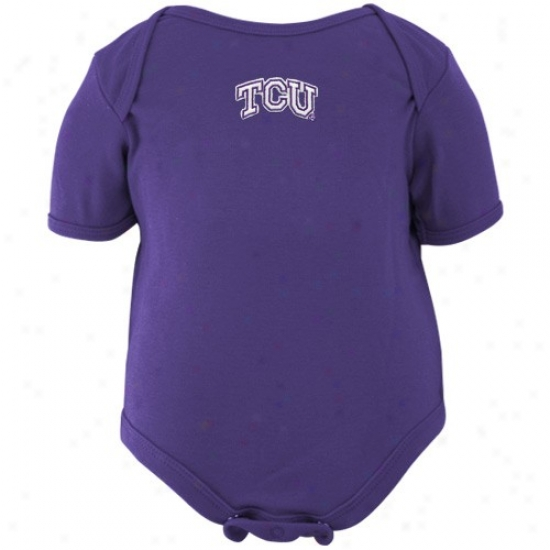 Texas Christian Horned Frogs Infant Purple Embrodiered Wordmark Creeper