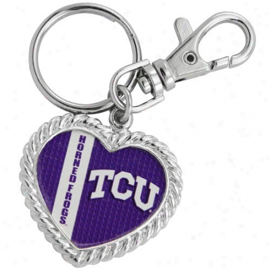 Texas Christian Horned Frogs Silvertone Heart Keychain