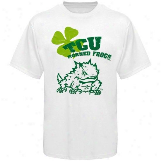 Texas Christian University Apparel: Texas Christian Horned Frogs White Shamrock Mascot T-shirt