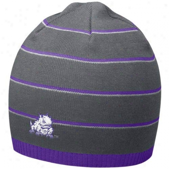 Texas Christian University Hat : Njke Texas Christian Horned Frogs Cha5coal Field Access Knit Beanie