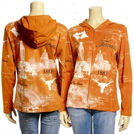 Texas Longhorn Clip : Texas Longhorn Ladies Focal Orange Rhinestone Zip Up Fleece