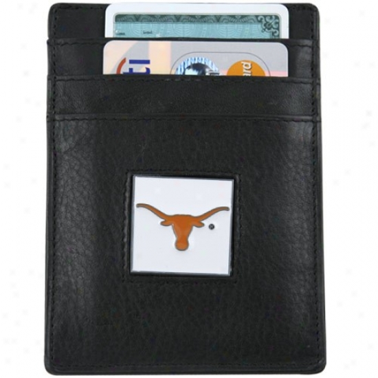 Texas Longhorns Black Leather Mobey Clip And Business Card Holder