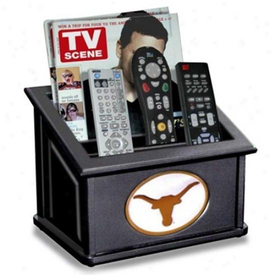 Texas Longohrns Black Wooden Team Logo Media Organizer