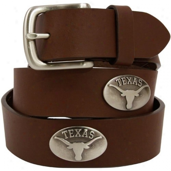 Texas Longhorns Brown Leather Brushed Metal Concho Girdle