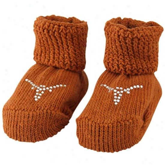 Texas Longhorns Newborn Focal Orange Rhinestone Gift Box Booties