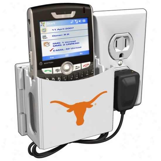Texas Longhornz White Sovket Pocket Wallplate Charging Station