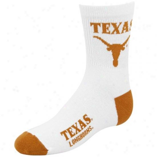 Texas Longhorns White Youth 901 (7-9) Tall Team Logo Socks