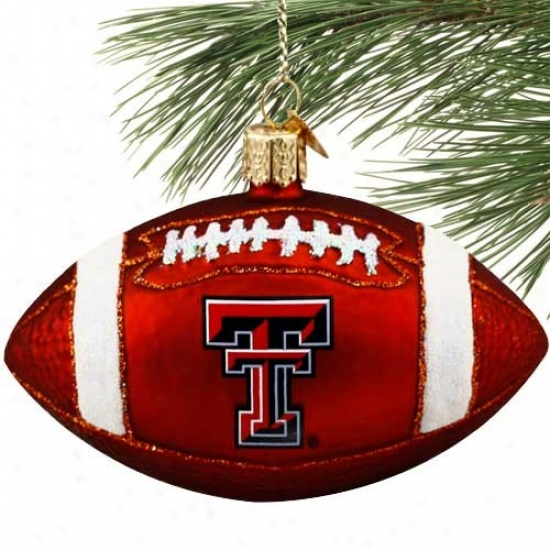 Texas Tech Red Raiders Glass Football Orbament