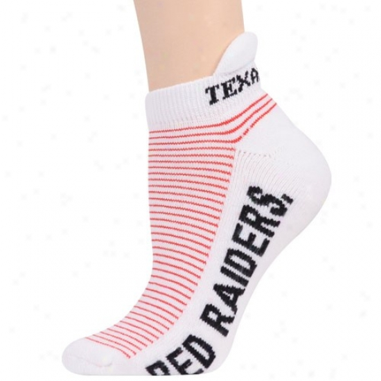 Texas Tech Red Raiders Ladies White-scarlet Striped Ankle Socks