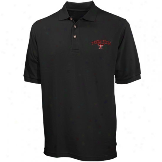 Texas Tech Red Raiders Polo : Texas Tech Red Raiders Black Pique Polo