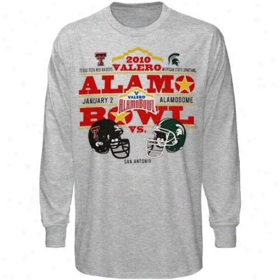 Texas Tech Rrd Raiders T Shirt : Texax Tech Red Raiders Ash 2010 Alamo Bowl Bound Dueling Helmets Long Sleeve T Shirt