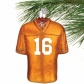 Tennessee Volunteers #16 Tennessee Orange Glass Football Jersey Ornament
