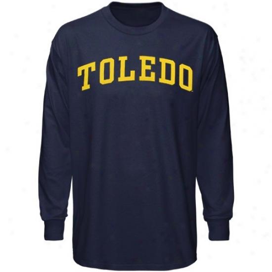 Toledo Rocksts Apparel: Toledo Rockets Navy Blue Vertical Arch Long Sleeve T-shirt