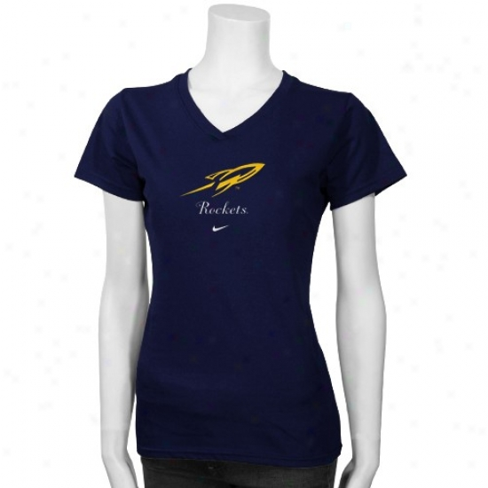 Toledo Rockets Shirts : Nike Toledo Rockets Navy Blue Ladies Team Logo Shirts