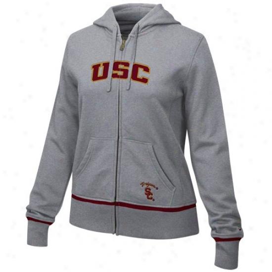 Trojan  Hoody : Nike Trojan  Ladies Ash Classic Full Zip Hoody