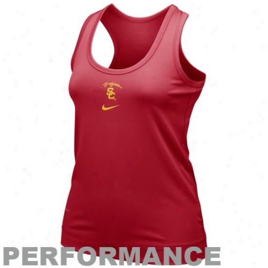 Trojan  Tshirts : Nike Trojan  Ladies Cardinal Nikefit Racerback Performance Tank Top
