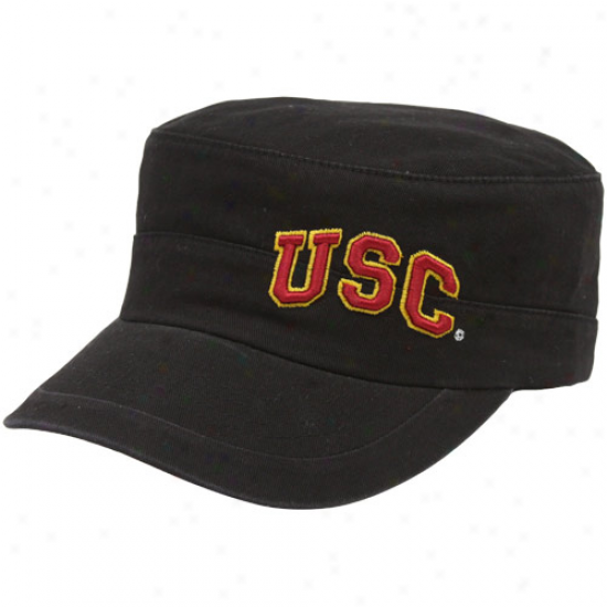 Trojans Merchandise: Top Of The World Trojans Black Cadet Adjustable Military Hat