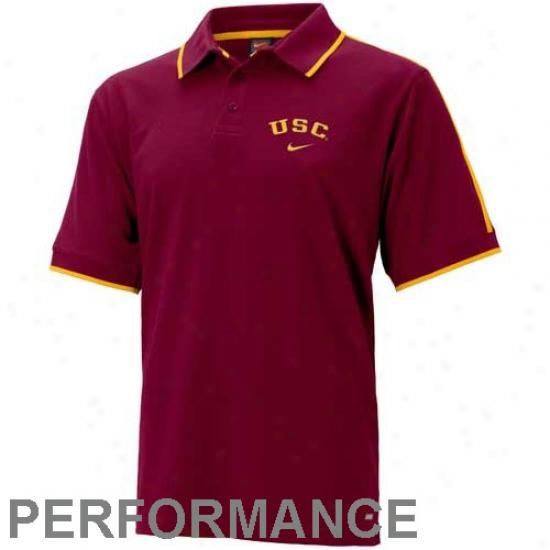 Trojans Polo : Nike Trojans Cardinal Ciassic Dri Fit Short Sl3eve Polo