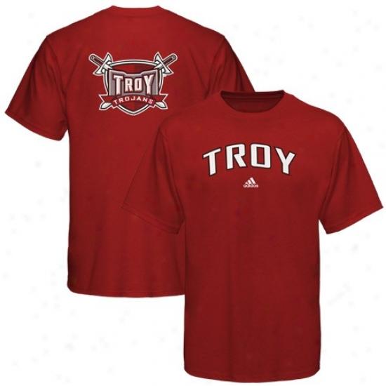 Troy University Trojans Tshirt : Adidas Troy University Trojans Red Relentless Tshirt