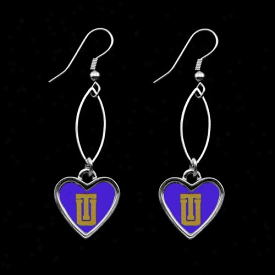 Tulsa Golden Hurricane Royal Blue Oval Heart Drop Earrings