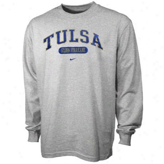Tulsa Delightful Hurricane T-shirt : Nike Tulsa Golden Hurricane Ash Elegant Arch Logo Lohg Sleeve T-shirt