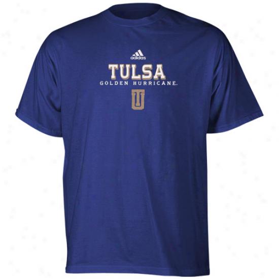 Tulsa Golden Hurricane Tees : Adidas Tulsa Golden Hurricane Royal Azure True Basic Tees
