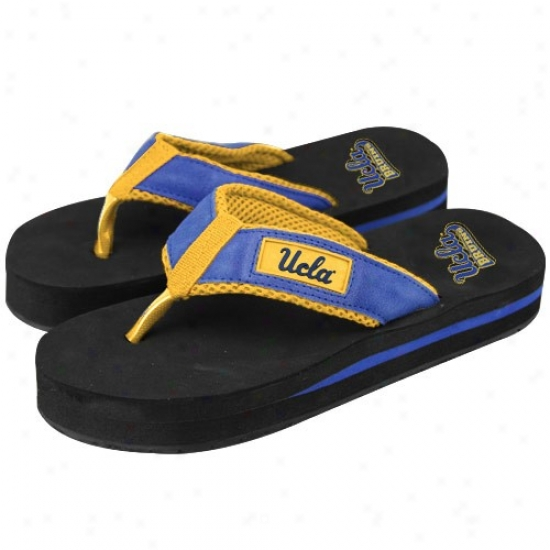 Ucla Bruins True Blue-black Unisex Two Tone Suede Flip Flops
