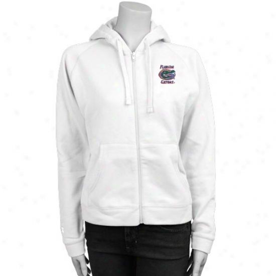 Uf Gator Fleece : Antigua Uf Gator Ladies White Full Zip Fleece