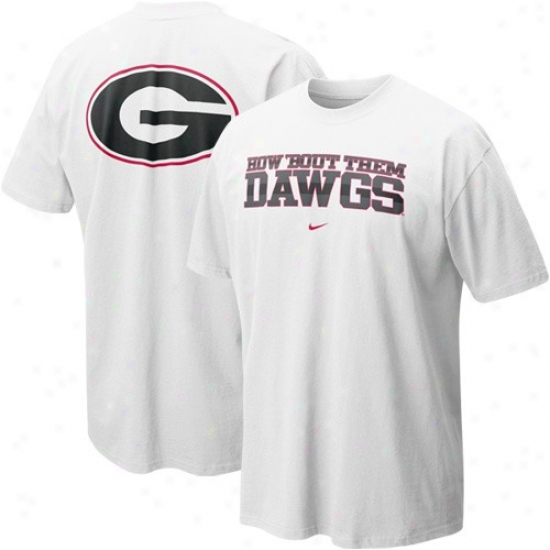 Uga Bulldov T-shirt : Nike Uga Bulldog White Our House Local T-shiry