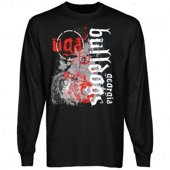 Uga Bulldog Tee : UgaB ulldog Mma Splat Black Long Sleeve Tee