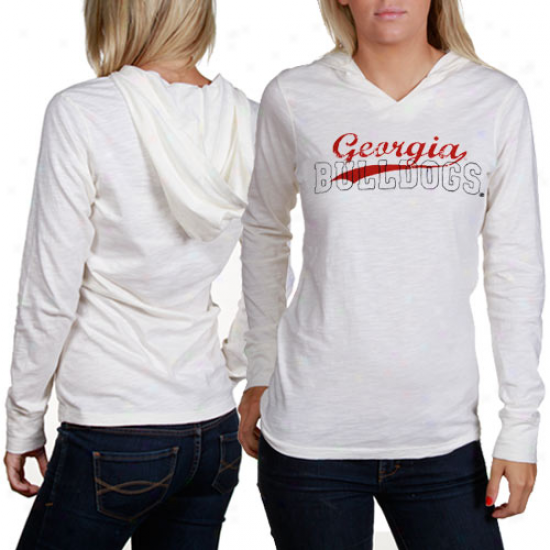 Uga Bulldpgq Shirtz : Uga Bukldogs Ladies Cream Quad Hooded Long Sleeve Premium Shirts