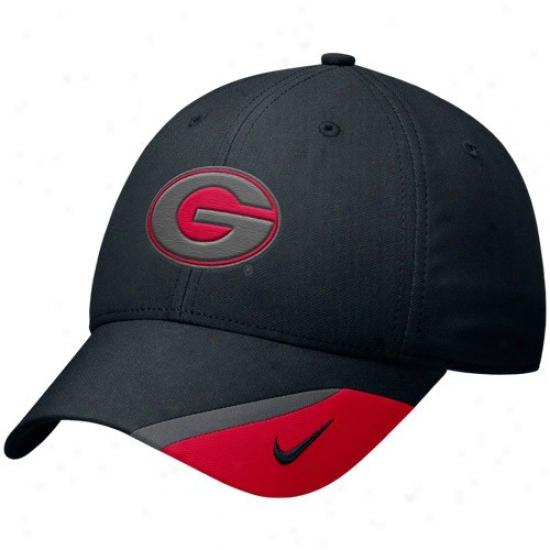 Uga Caps : Nike Uga Black Double Black Lighf Flex Fit Caps