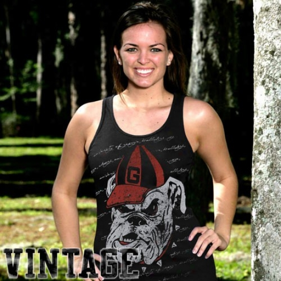 Uga Tee : My U Uga Ladies Black Appropriate A Phtase Vintage Tank Top