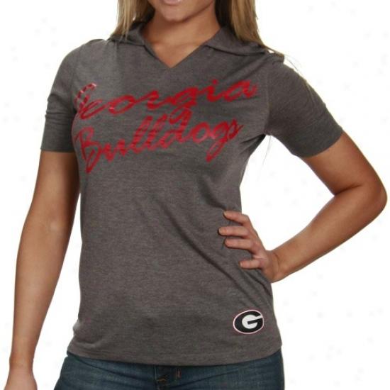 Uga Tshirts : Uga Ladies Charcoal Lux Premium Hooded Tshirts
