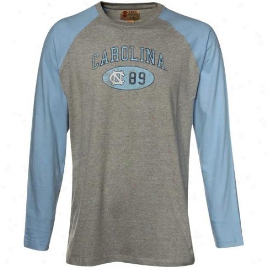 Unc Tar Heels Tshirt : Izod Unc Tar Heels (unc) Gray-light Blue Raglan Long Sleeved Baseball Tshirt