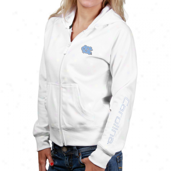 Unc Tarheel Sweat Shirt : Unc Tarheel (unc) Ladies Whute Dash Full Zip Sweat Shirt
