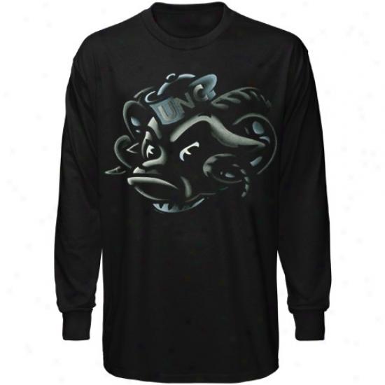 Unc Tarheel Tees : Unc Tarheel (unc) Black Blackout Long Sleeve Tees